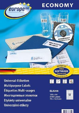 Самоклеящиеся этикетки Europe100 ELA048 avery zweckform этикетки самоклеящиеся европа 100 48 5 х 25 4 мм 100 листов