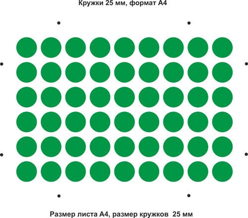 Вырубной штамп Кружки A4, 25 мм, 54 шт