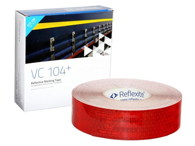 Световозвращающая лента Oralite/Reflexite VC104+ Curtain Grade для мягкого тента, красная 50 м