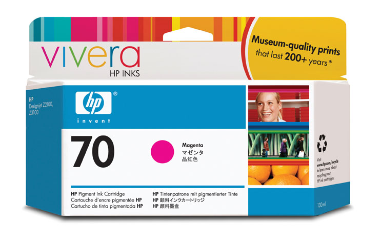 Картридж HP Pigment Ink Cartridge №70 Magenta (Z2100/3100) (C9453A) картридж для принтера hp 128a ce323a laserjet print cartridge magenta