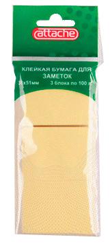 Бумага для заметок Attache клейкая, 38х51мм, желтая, 100л. 3 шт/наб. Компания ForOffice 21.000