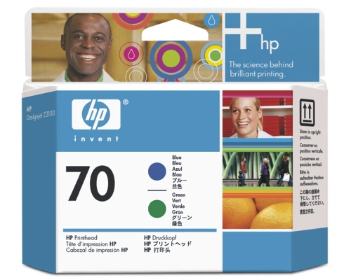 Печатающая головка HP Print Head №70 Blue & Green (Z3100) (C9408A) картридж hp c9408a для designjet z2100 z3100 ps pro b9100 голубой зеленый