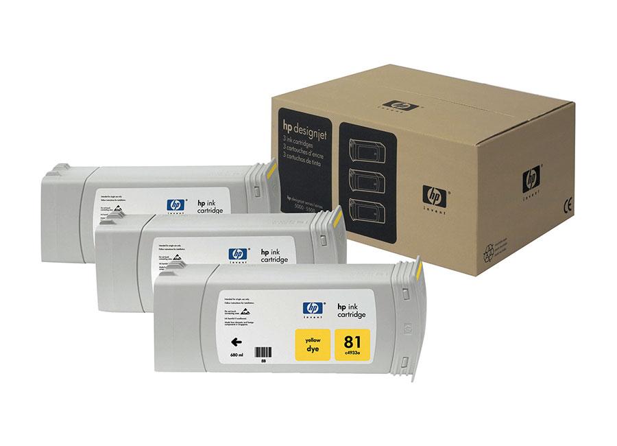 Набор картриджей HP DesignJet 81 indoor Dye Yellow 3x680 мл (C5069A) цена