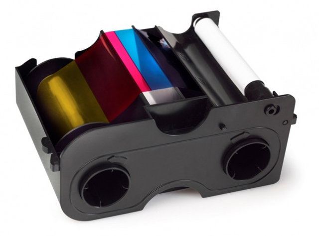 Картридж с лентой и чистящим валиком полноцветная полупанельная лента Fargo YMCKO 1/2 45014