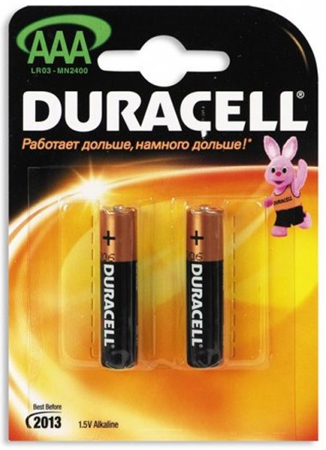 Батарейка Duracell AAA / LR03 алкалиновая, 1.5Вт, 2шт/блистер Компания ForOffice 76.000