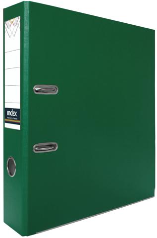 Папка-регистратор Index 80 мм, PVC, зеленая, с металлической окантовкой и кармашком Компания ForOffice 74.000