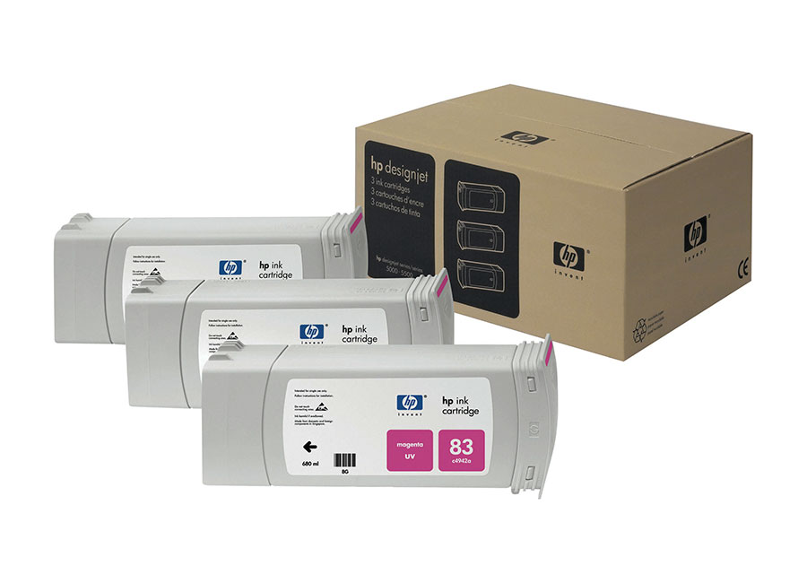 Набор картриджей HP Inkjet Cartridge 81 indoor Dye Magenta 3x680 мл (C5068A) for hp 81 printhead print head hp81 c4950a c4951a c4952a c4953a c4954a c4955a design 5500 5000 5500ps refurbished nozzle