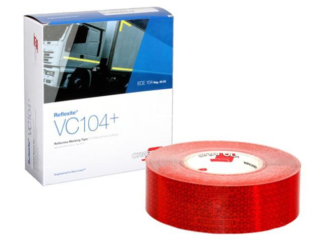 Световозвращающая лента Oralite/Reflexite VC104+ Rigid Grade для жесткого борта, красная 50 м
