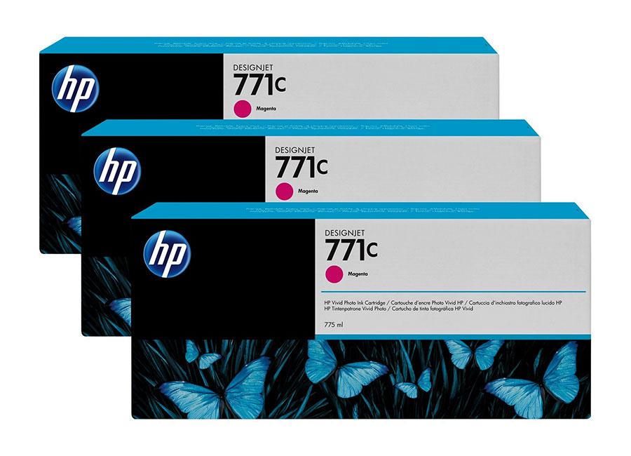 Набор картриджей HP Designjet 771 CR252A Magenta 3x775 мл (B6Y33A) комплект картриджей sonaki sedimax smf 03