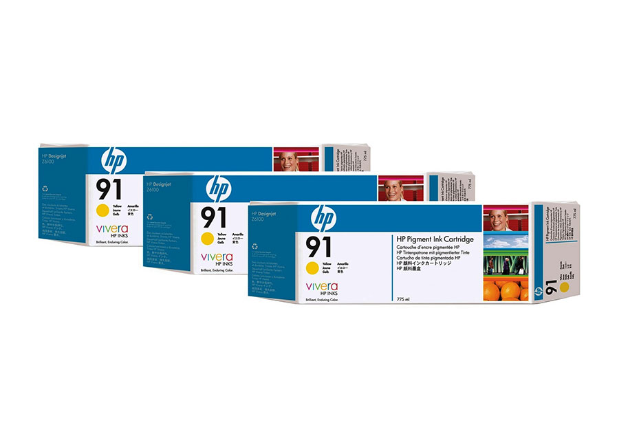 Набор картриджей HP Pigment Ink Cartridge HP 91 Yellow 3x775 мл (C9485A)
