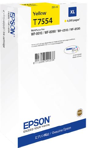 Картридж повышенной емкости с желтыми чернилами T7554 для WF-8090, 8590 (C13T755440) original cc03main mainboard main board for epson l455 l550 l551 l555 l558 wf 2520 wf 2530 printer formatter