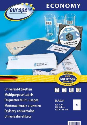 Самоклеящиеся этикетки Europe100 ELA024 этикетки универсальные qp 38x21 2 мм ij l k 3666