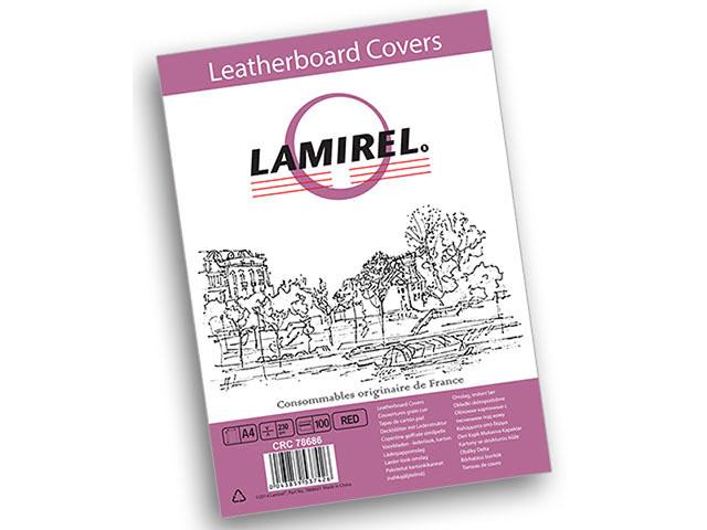 Обложка картонная Lamirel Delta, Кожа, A4, Красный, 100 шт