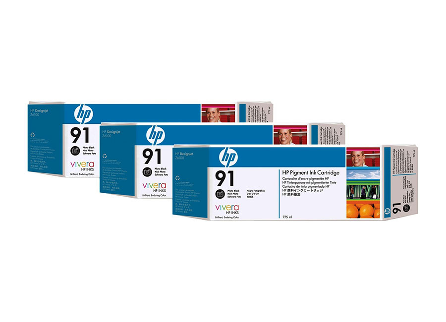 Набор картриджей HP Pigment Ink Cartridge HP 91 Photo black 3x775 мл (C9481A) free shipping 8pcs a lot compatible hp91 ink cartridge with pigment ink for hp z6100 ciss