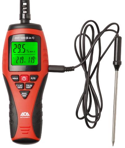 Измеритель влажности и температуры ZHT 100 (6 in 1) измеритель прочности бетона ada schmidt hammer 225