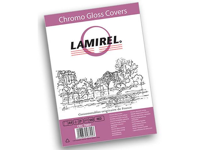 Обложка картонная Lamirel Chromolux, Глянец, A4, 230 г/м2, красный, 100 шт