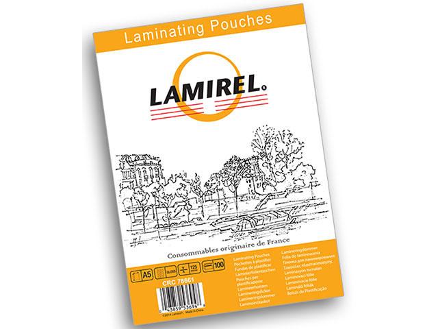 Пакетная пленка для ламинирования Lamirel A5, глянцевая, 125 мкм, 100 шт