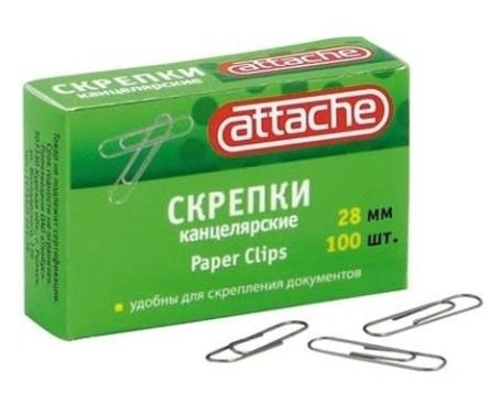 Скрепки 28мм Attache металлические, без покрытия 100шт/уп Компания ForOffice 8.000
