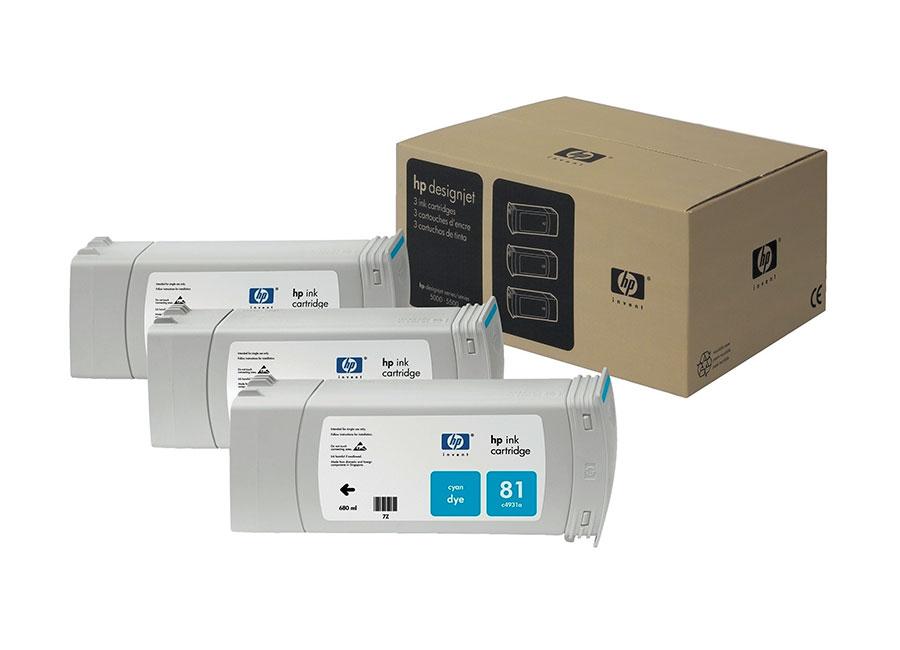 Набор картриджей HP DesignJet 81 indoor Dye Cyan 3x680 мл (C5067A) hot sales 80 printhead for hp80 print head hp for designjet 1000 1000plus 1050 1055 printer