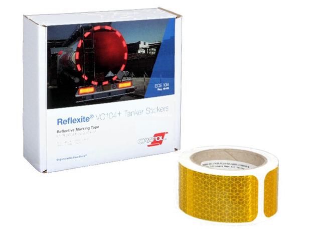Световозвращающая лента Oralite/Reflexite VC104+ Tanker Stickers для жесткого борта, для цистерн, желтая 10 м