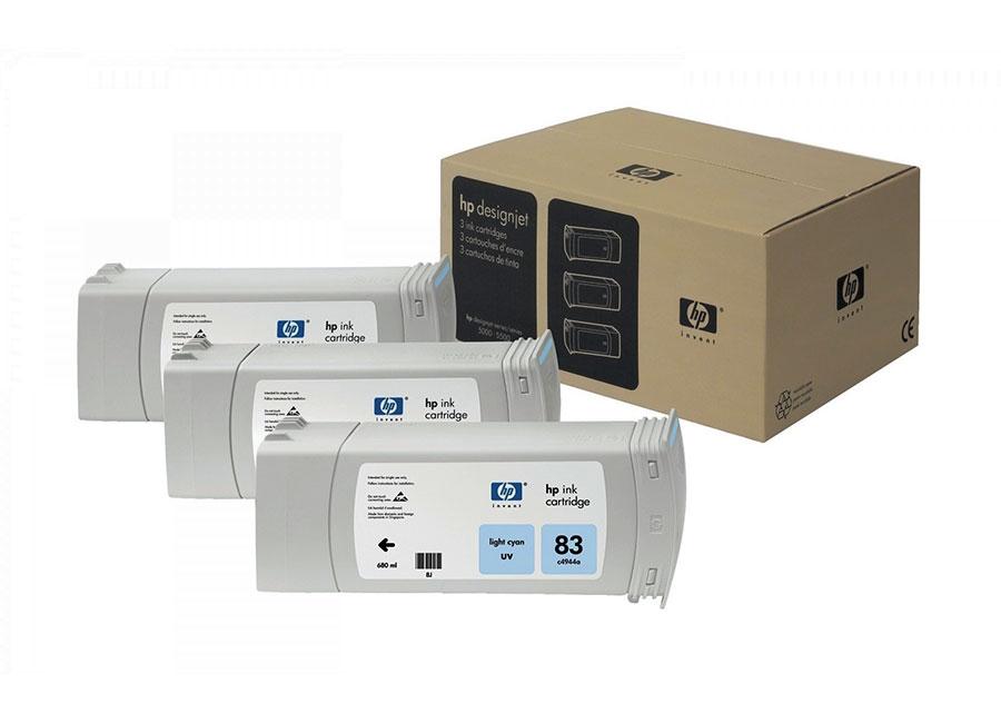 Набор картриджей HP Inkjet Cartridge 83 outdoor Dye Light Cyan 3x680 мл (C5076A) compatible for hp83 c4960a printhead for hp designjet 5000 5000ps 5500 5500ps print head