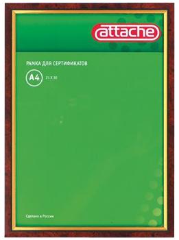 Рамка А4 (210х300мм) Attache красное дерево+золото, пластиковый багет Компания ForOffice 124.000
