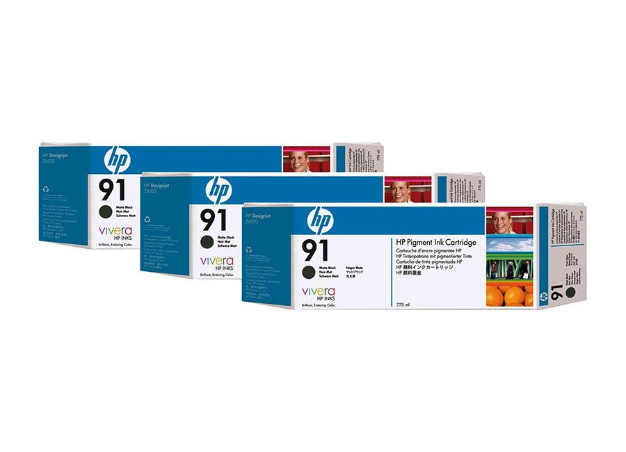 Набор картриджей HP Pigment Ink Cartridge HP 91 Matte black 3x775 мл (C9480A) free shipping q5669 60664 for hp designjet t610 t1100 z2100 z3100 z3200 vacuum fan aerosol fan assembly original used