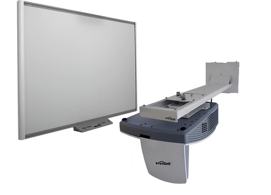 Интерактивный комплект SBM685iv6: интерактивная доска Board SBM685 с пассивным лотком, проектором Vivitek DH758UST и оригинальным настенным креплением Vivi