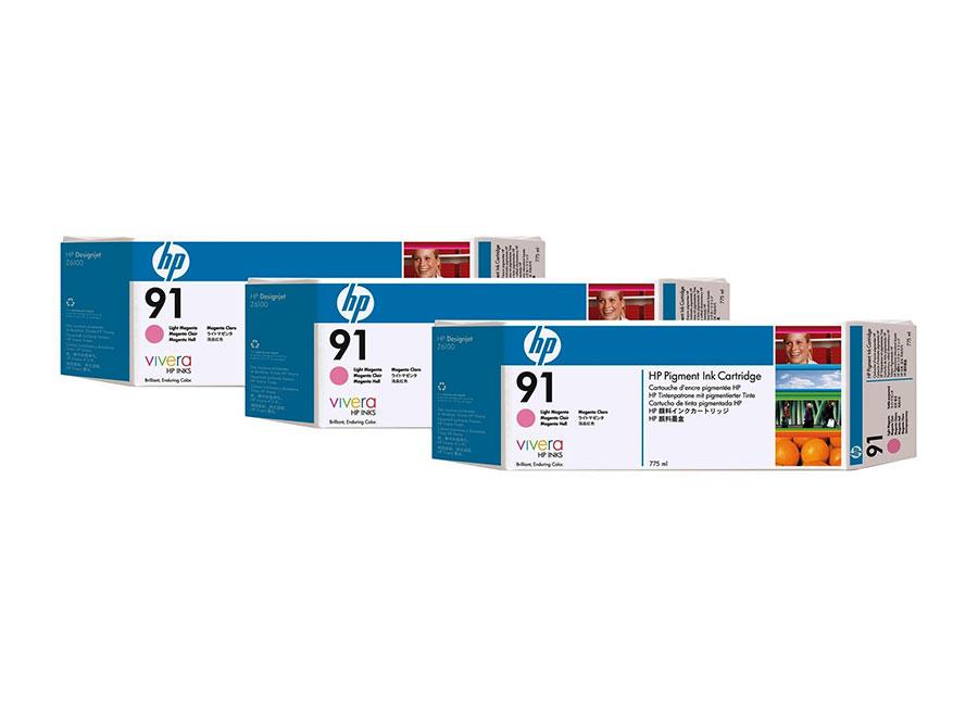 Набор картриджей HP DesignJet 91 Light Magenta 3x775 мл (C9487A) hp c9487a