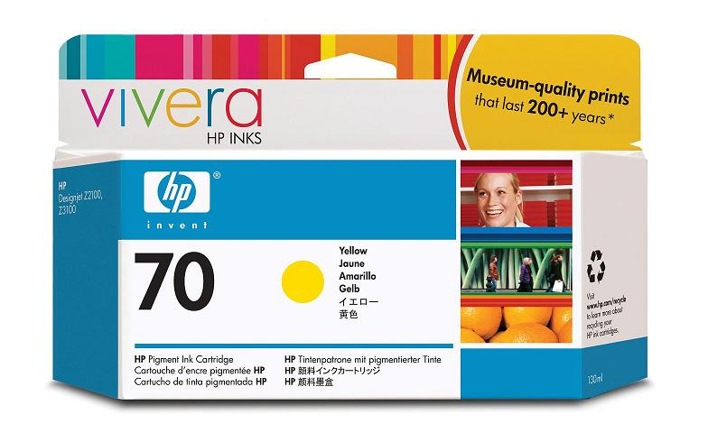 Картридж HP Pigment Ink Cartridge №70 Yellow (Z2100/3100/3200) (C9454A) картридж для принтера hp c8767he 130 black inkjet print cartridge