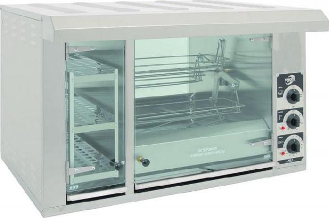 Гриль карусельный для приготовления кур Sikom МК-8.8В со встроенной тепловой витриной