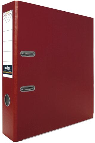 Папка-регистратор Index 80 мм, PVC, красная, с металлической окантовкой и кармашком Компания ForOffice 74.000