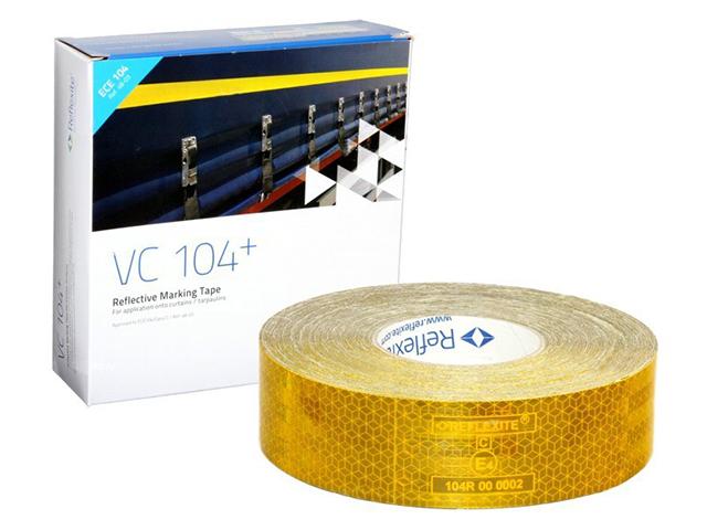Световозвращающая лента Oralite/Reflexite VC104+ Curtain Grade для мягкого тента, желтая 50 м