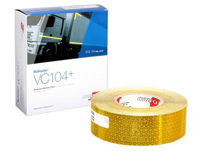 Световозвращающая лента Oralite/Reflexite VC104+ Rigid Grade для жесткого борта, желтая 50 м