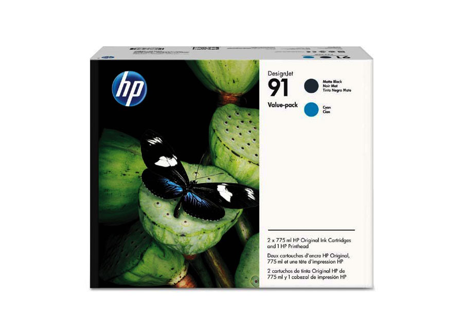 Печатающая головка и 2 картриджа для HP Designjet Z6100, Matte Black/Cyan (P2V35A) hot sales 80 printhead for hp80 print head hp for designjet 1000 1000plus 1050 1055 printer