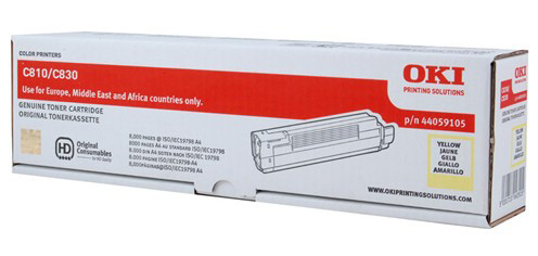Тонер-картридж TONER-Y-C810-8K-NEU (44059105 / 44059117) 4 pack high quality toner cartridge oki c801 c810 c821 c830 mc860 c861 color full compatible 4406412 4406411 4406410 4406409