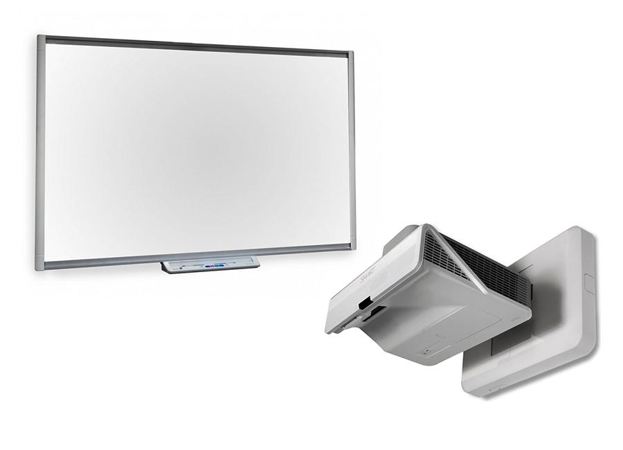 Интерактивный комплект SBM685iv5w: интерактивная доска   Board SBM685 с ключом активации   NOTEBOOK, с пассивным лотком SBM685, с проектором   U100w и настенным