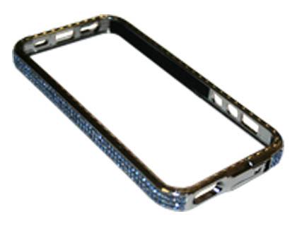Чехол-бампер iPhone 5/5S со стразами голубой