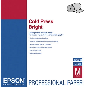 Fine Art Paper Cold Press Bright 60, 1524мм х 15м (305 г/м2) (C13S042316) epson fine art paper cold press bright 24 610мм х 15м 305 г м2 c13s042314